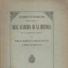 Libros antiguos: MARQUES FUENSANTA DEL VALLE. PROGRESO DE LAS CIENCIAS HISTÓRICAS (DISCURSO RAHISTORIA). MADRID, 1895. Lote 30395982