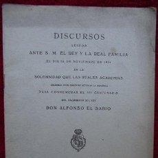 Libros antiguos: DISCURSOS PARA CONMEMORAR EL VII CENTENARIO DEL REY DON ALFONSO EL SABIO (1921). Lote 30584539