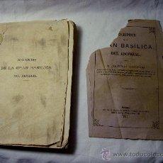 Libros antiguos: DESCRIPCION DE LA GRAN BASILICA DEL ESCORIAL. AÑO 1861. MADRID. Lote 30718014