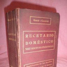 Libros antiguos: RECETARIO DOMESTICO - GHERSI-CASTOLDI - AÑO 1910 - ILUSTRADO.. Lote 30906581