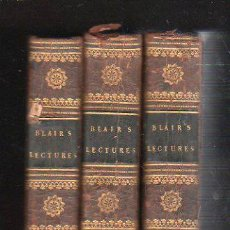 Libros antiguos: LECTURES ON RHETORIC AND BELLES LETTRES, HUGH BLAIR, 3 VOLÚMENES, 9ª ED., LONDRES 1803. Lote 30979067
