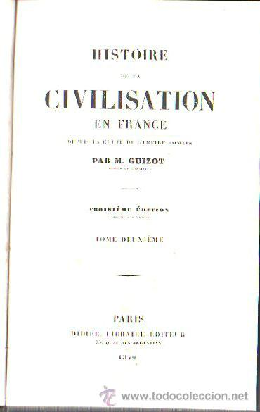 Libros antiguos: HISTOIRE DE LA CIVILISATION EN FRANCE, M. GUIZOT, 5 TOMOS, PARIS, DIDIER, 1840 - Foto 4 - 30967884