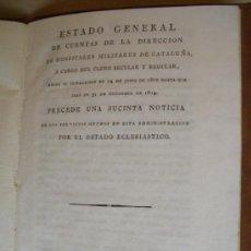 Libros antiguos: ESTADO GENERAL DE CUENTAS DE LA DIRECCION DE HOSPITALES MILITARES DE CATALUÑA.1815, PORTES INCLUIDOS. Lote 30979285
