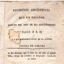 Libros antiguos: ADVERTENCIA QUE UN ESPAÑOL HACE A S.M. Y LAS CORTES, MADRID, D.M.BURGOS 1820. Lote 31277064
