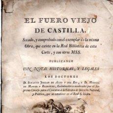 Libros antiguos: EL FUERO VIEJO DE CASTILLA, IGNACIO JORDAN Y MIGUEL DE MANUEL, MADRID, 1771, IMP. JOACHIN IBARRA. Lote 31363689