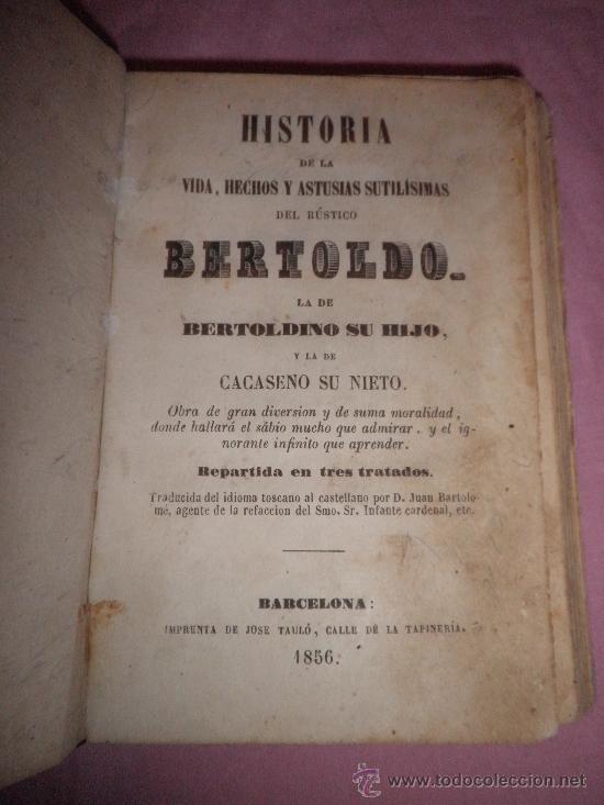 Libros antiguos: HISTORIA DE LA VIDA Y ASTUSIAS DEL RUSTICO BERTOLDO - AÑO 1856 - GRABADOS XILOGRAFICOS. - Foto 2 - 31532102