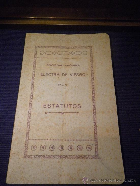 Libros antiguos: ELECTRA DE VIESGO ESTATUTOS, SOCIEDAD ANÓNIMA, AÑO 1930. - Foto 1 - 31603545