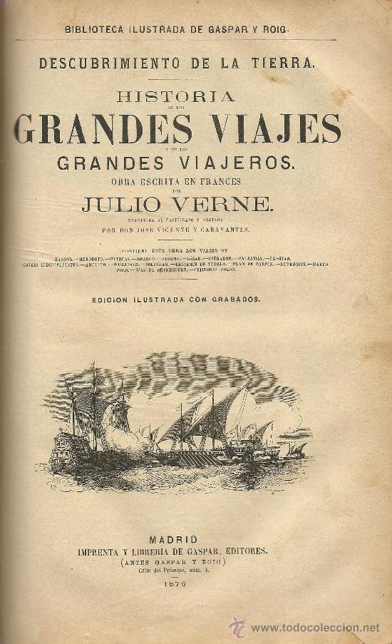 Libros antiguos: Volumen facticio con obras de Julio Verne en la edición ilustrada de Gaspar y Roig - 1876 - Foto 4 - 31639211