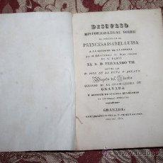 Libros antiguos: 0893- 'DISCURSO HISTORICO-LEGAL SOBRE EL DERECHO DE LA PRINCESA ISABEL LUISA . Lote 31661646