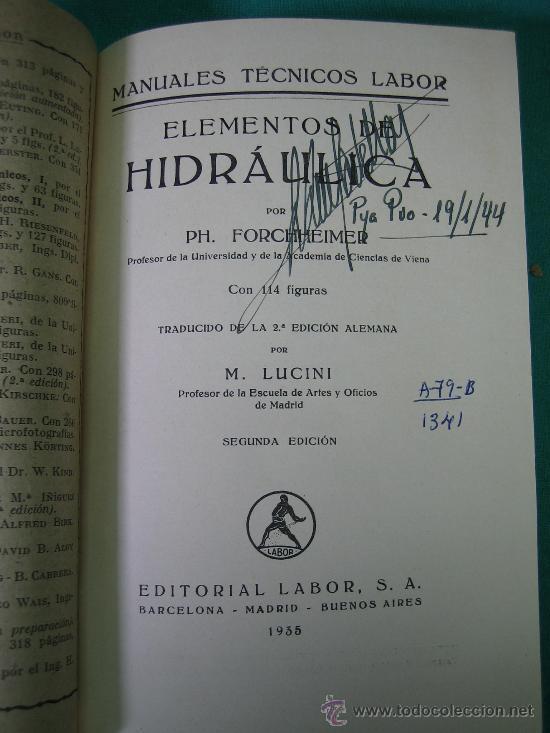 Libros antiguos: Hidraulica por Forchheiner 1935 - Foto 2 - 31712200