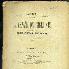 Libros antiguos: LA ESPAÑA DEL SIGLO XIX COLECCIÓN DE CONFERENCIAS HISTORICAS - 5ª CONFERENCIA POR R.M. DE LABRA. Lote 31846731