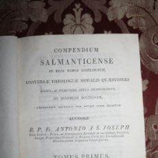 Libros antiguos: 1450- 'COMPENDIUM SALMANTICENSE' UNIVERSAE THEOLOGIAE MORALIS QUAESTIONES TOMO I 1817. Lote 31903240