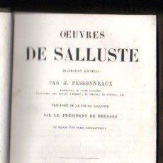 Libros antiguos: OEUVRES DE SALLUSTE POR M. PESSONNEAUX - CHARPENTIER LIBRERIA EDITOR, PARIS 1864. Lote 32051074