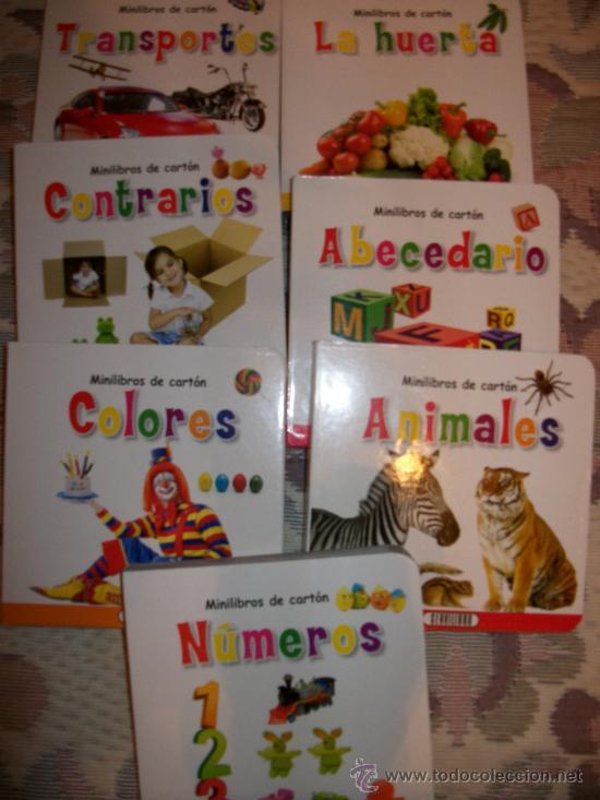 LOTE 7 MINILIBROS DE CARTON - NUEVOS - COLECCION COMPLETA - NUMEROS - COLORES - TRANSPORTES - ETC (Libros Antiguos, Raros y Curiosos - Literatura Infantil y Juvenil - Otros)