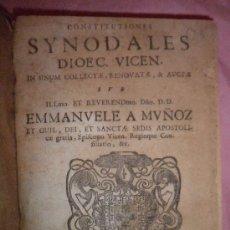Libros antiguos: CONSTITUTIONES SYNODALES DIOCECIS VICENSIS - E.MUÑOZ - AÑO 1748 - EN CATALAN. . Lote 32343919