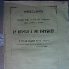 Libros antiguos: 1858 OBSERVACIONES SOBRE EL CONSEJO DADO AL PARTIDO MODERADO. Lote 32385484