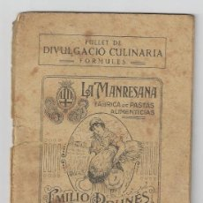 Libros antiguos: FULLET DE DIVULGACIO CULINARIA LA MANRESANA ANY 1932. Lote 32514918