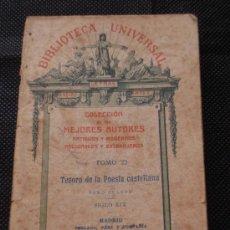 Libros antiguos: LOTE DE 5 LIBROS DE BIBLIOTECA UNIVERSAL: 1893-1923, LARRA, QUEVEDO, RAMÓN DE LA CRUZ.... Lote 32545802