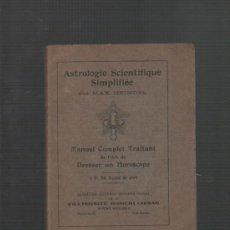 Libros antiguos: MAX HEINDEL ASTROLOGIE SCIENTIFIQUE SIMPLIFIEE (ASTROLOGIA). Lote 32632820