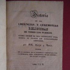 Libros antiguos: 'Hª DE LAS CREENCIAS Y CEREMONIAS RELIGIOSAS DE TODOS LOS PUEBLOS' VIOLLET. 2 TOMOS EN 1 VOL. 1841. Lote 32795949