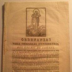 Libros antiguos: ORDENANZAS PARA OFICIALES MANIOBREROS DEL GREMIO DE SASTRES. MADRID. 1829. Lote 33034648