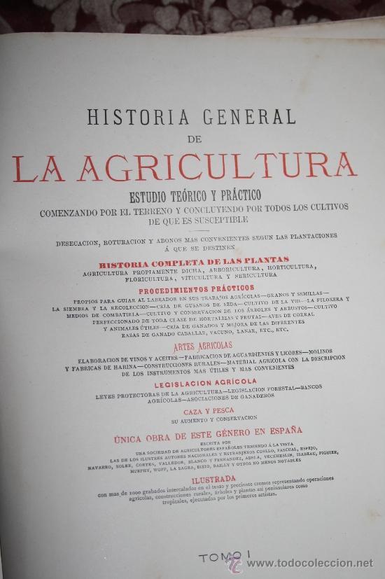 Libros antiguos: 1355- 'HISTORIA GENERAL DE LA AGRICULTURA' ESTUDIO TEÓRICO Y PRÁCTICO 3 TOMOS 18?? EDITOR JAIME SEIX - Foto 3 - 33155661
