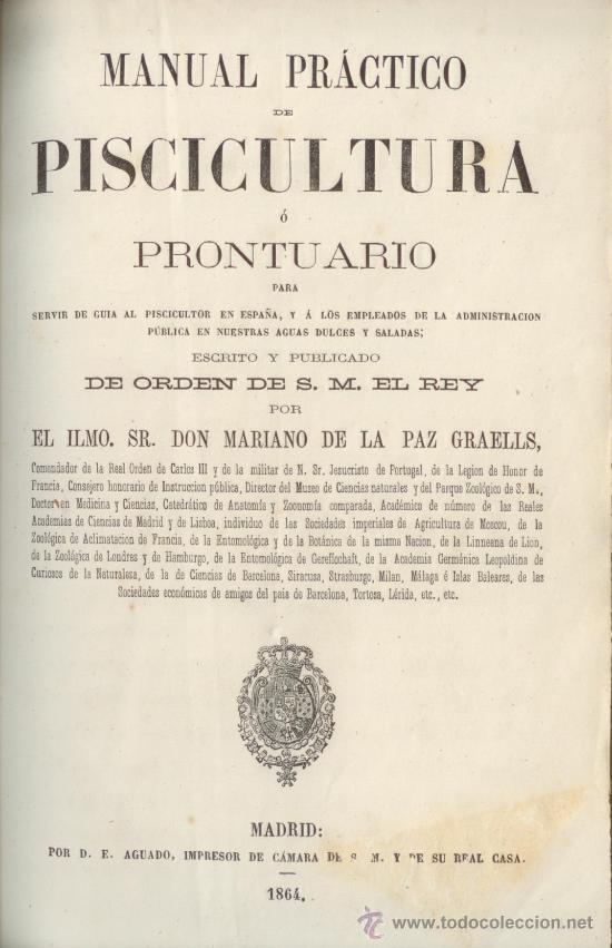 Libros antiguos: Manual Practico Piscicultura. Madrid 1864. Libro Antiguo. Peces. - Foto 1 - 33218510
