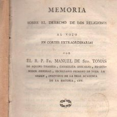 Libros antiguos: MEMORIA SOBRE DERECHO DE RELIGIOSOS AL VOTO EN CORTES, VALENCIA, IMP. SALVADOR FAULÍ, AÑO 1811. Lote 33343395