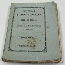 Libros antiguos: TAXIDÉRMIA. RIQUEZAS Y MARAVILLAS. ARTE DE DISECAR AVES, ANIMALES, INSECTOS. MADRID 1851 12X9 CM. Lote 33413820