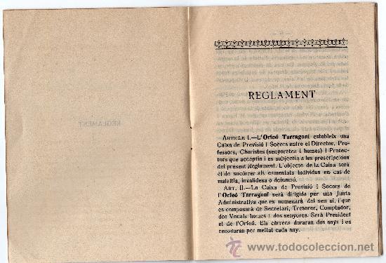 Libros antiguos: REGLAMENT DE LA CAIXA DE PREVISIÓ I SOCORS DEL ORFEÓ TARRAGONÍ, TARRAGONA ANY 1930 - Foto 2 - 33517935