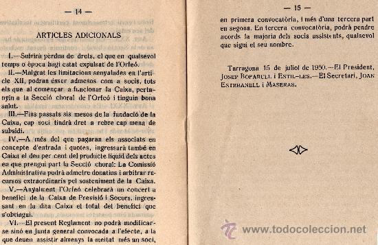 Libros antiguos: REGLAMENT DE LA CAIXA DE PREVISIÓ I SOCORS DEL ORFEÓ TARRAGONÍ, TARRAGONA ANY 1930 - Foto 3 - 33517935