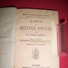 Libros antiguos: ARIÑO, TOMÁS - MANUAL DE MECÁNICA POPULAR. Lote 33527102