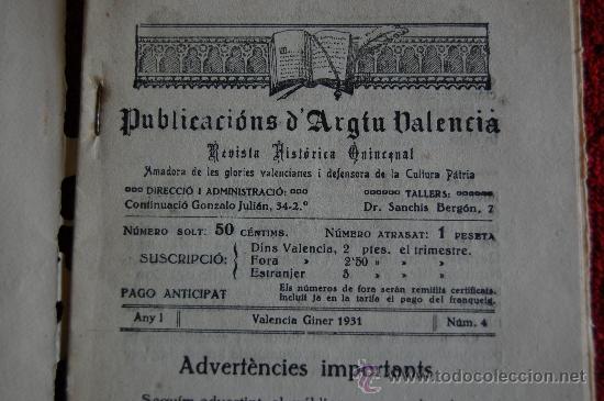 Libros antiguos: ENERO 1931. ELS FURS DE VALENCIA Nº 4. PUBLICACIONS D´ARGIU VALENCIA. REVISTA HISTORICA QUINCENAL - Foto 2 - 33550008