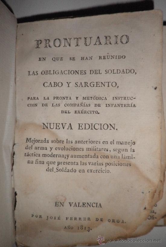 Libros antiguos: PRONTUARIO DEL CABO Y SARGENTO DE INFANTERIA DEL EXERCITO - AÑO 1813 - LAMINA GRABADA·PERGAMINO. - Foto 3 - 33768496