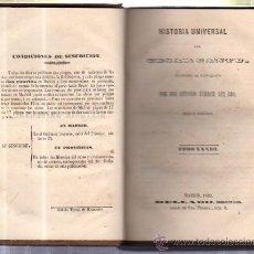 Libros antiguos: HISTORIA UNIVERSAL, CESAR CANTU, TOMO 33, MADRID, MELLADO 1849, , ORIGINAL. Lote 34638594
