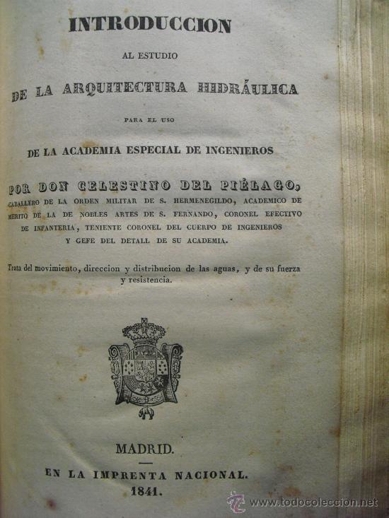 1841 INTRODUCCION AL ESTUDIO DE LA ARQUITECTURA HIDRAULICA (Libros Antiguos, Raros y Curiosos - Ciencias, Manuales y Oficios - Otros)