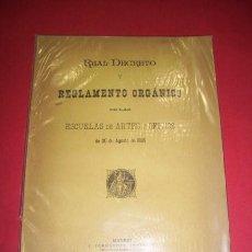 Libros antiguos: MINISTERIO DE FOMENTO - REAL DECRETO (...) DE LAS ESCUELAS DE ARTES Y OFICIOS (...) 1895. Lote 35277180