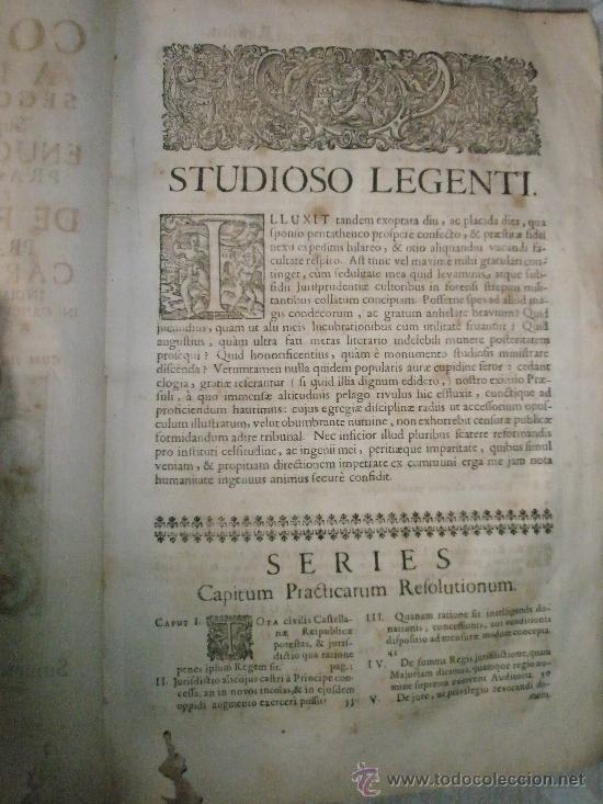 Libros antiguos: ENUCLEATUS ET AUCTUS PRACTICIS IN QUAESTIONIBUS PER DIDACUM YBAÑEZ DE FARIA GADITANUM PRAEPOTENTIS C - Foto 2 - 36039630