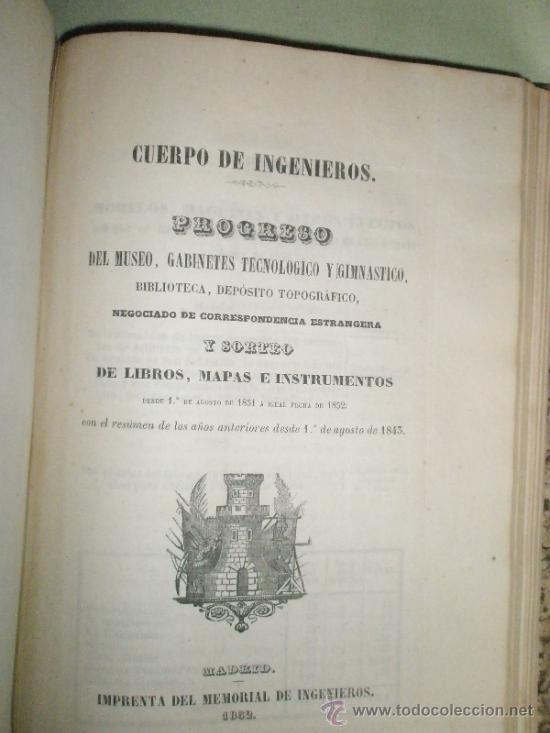 Libros antiguos: Memorial de Ingenieros (1852, Tomo VII): Memorias, artículos y noticias interesantes al arte de la - Foto 9 - 36123453