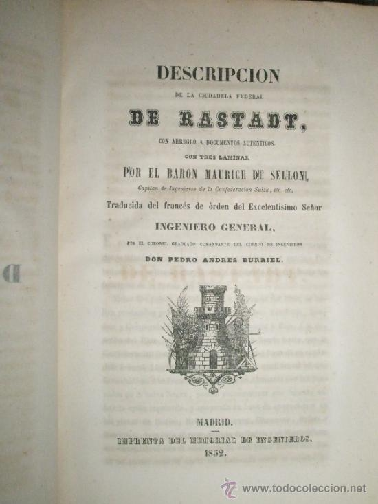 Libros antiguos: Memorial de Ingenieros (1852, Tomo VII): Memorias, artículos y noticias interesantes al arte de la - Foto 5 - 36123453
