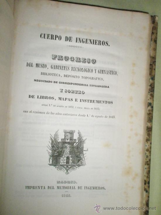 Libros antiguos: Memorial de Ingenieros (1853, Tomo VIII): Memorias, artículos y noticias interesantes al arte de la - Foto 9 - 36123564