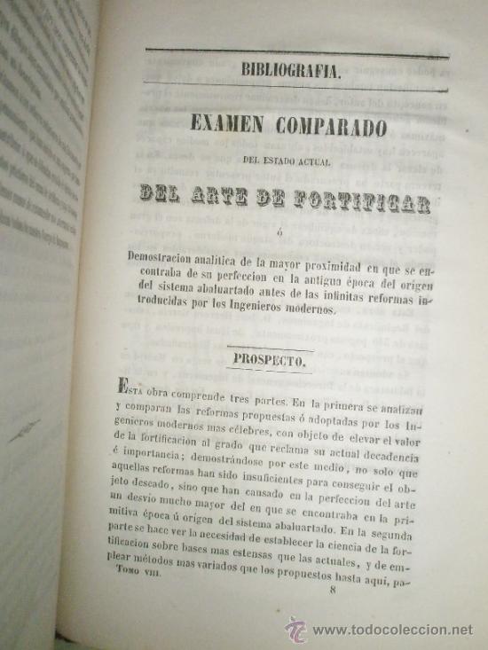 Libros antiguos: Memorial de Ingenieros (1853, Tomo VIII): Memorias, artículos y noticias interesantes al arte de la - Foto 8 - 36123564