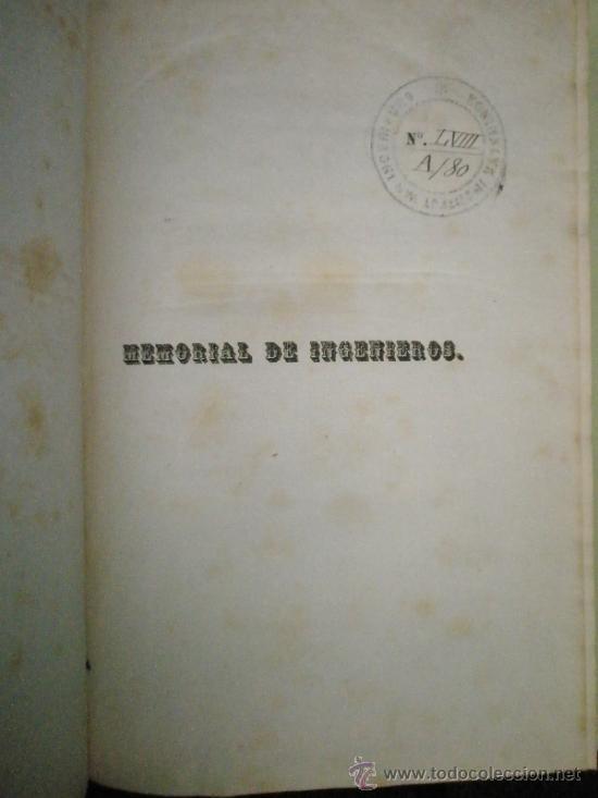 Libros antiguos: Memorial de Ingenieros (1853, Tomo VIII): Memorias, artículos y noticias interesantes al arte de la - Foto 5 - 36123564