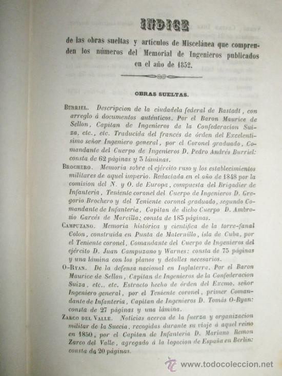 Libros antiguos: Memorial de Ingenieros (1852, Tomo VII): Memorias, artículos y noticias interesantes al arte de la - Foto 14 - 36123453