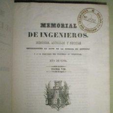 Libros antiguos: MEMORIAL DE INGENIEROS (1852, TOMO VII): MEMORIAS, ARTÍCULOS Y NOTICIAS INTERESANTES AL ARTE DE LA . Lote 36123453