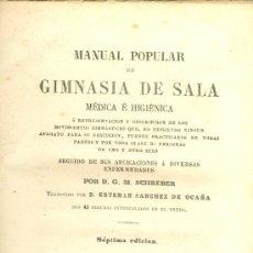 Libros antiguos: D.G.M. SCHREBER. MANUAL POPULAR DE GIMNASIA DE SALA MÉDICA E HIGIÉNICA. 7ª ED. MADRID, 1871. FS. Lote 36068600