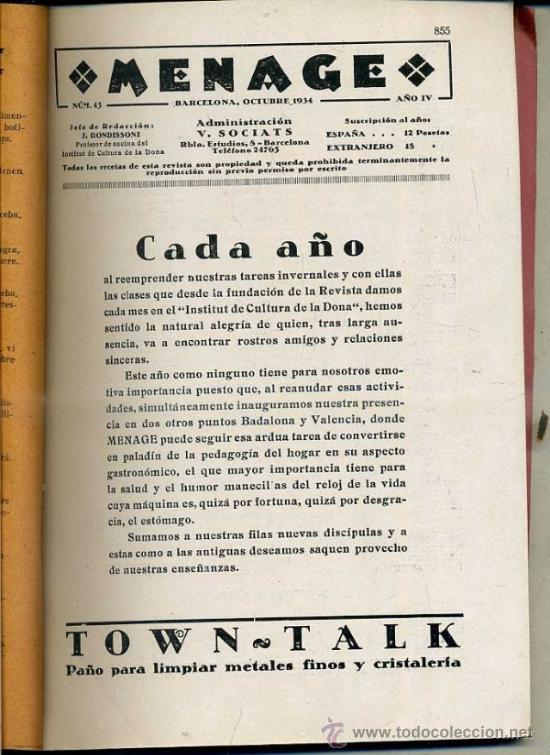 MENAGE : OCTUBRE 1934 (Libros Antiguos, Raros y Curiosos - Cocina y Gastronomía)