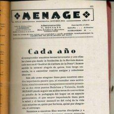 Libros antiguos: MENAGE : OCTUBRE 1934. Lote 36409712