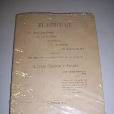 Libros antiguos: CEJADOR Y FRAUCA, JULIO. EL LENGUAJE : SUS TRANSFORMACIONES, SU ESTRUCTURA, SU UNIDAD, SU ORIGEN,.... Lote 36525029
