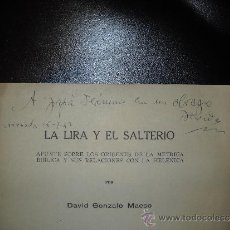 Libros antiguos: LA LIRA Y EL SALTERIO.DAVID GONZALO MAESO.DEDICADO CON SU FIRMA.. Lote 36663358